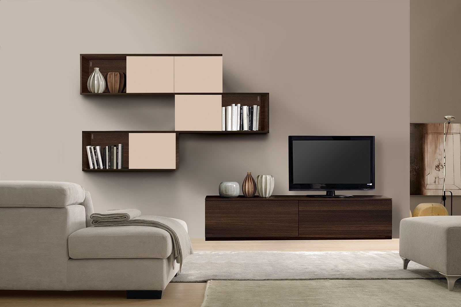 Wall furniture design for Drawing room furniture designs